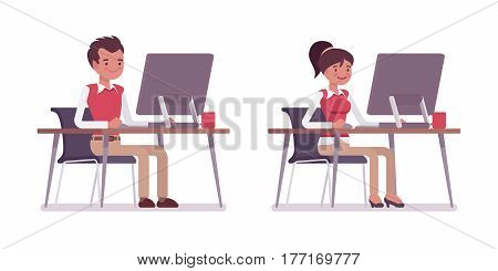 Set of young male and female office worker in smart casual wear, sitting at desk and working at the monoblock, performing managerial and administrative work, full length, isolated, white background