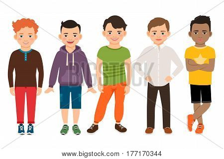 Cute little boys characters isolated on white background. Guys Lads vector illustration