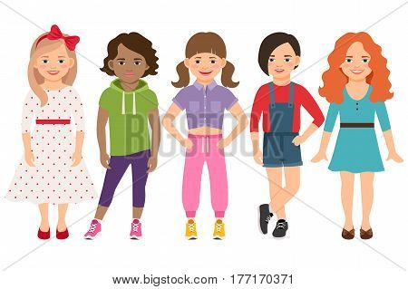 Stylish child girls vector illustration. Blonde and brunette, brown haired and redhead little girl set isolated on white background