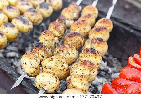 Vegetables on skewers on the grill vegetarian shish kebab from potatoes and bell peppers. Horizontal photo