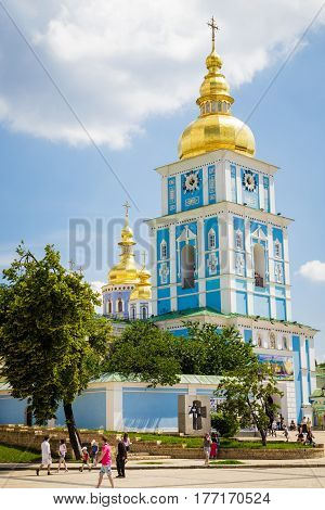 The reconstructed building of the ancient Mikhaylovsky Cathedral Kiev Ukraine. Date June 9 2013. vertical photo