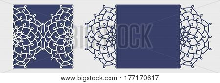 Diy Laser Cutting Vector Envelope. Laser Cut Wedding Invitation Template. Die Cut Paper Card With Or