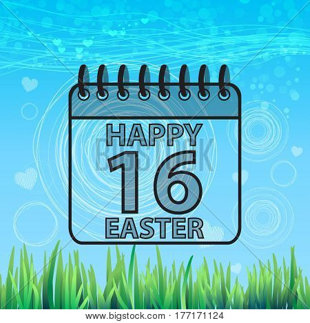 Background Spring Easter Happy Calendar Sixteenth