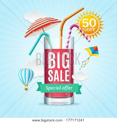 Big Sale Summer Concept Banner Card or Poster with Cocktail Glass Special Offer. Vector illustration