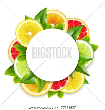 Freshly cut citrus fruits slices and leaves circle ornamental round frame arrangement colorful natural realistic vector illustration