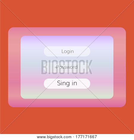 colorful log in form for website with sing in