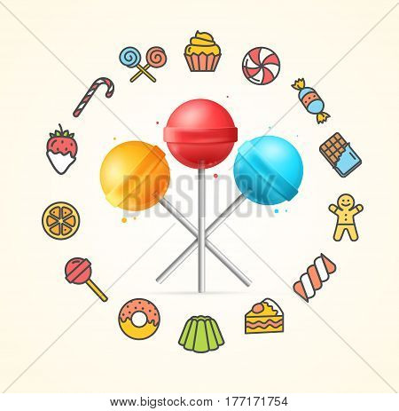 Sweets and Bakery Candy Concept and Lollipop with Stick Sweet Food Menu. Vector illustration