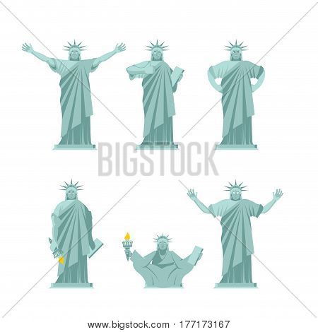 Statue Of Liberty Set Poses. Attractions America Set Of Movements And Emotions. Cheerful And Evil. S