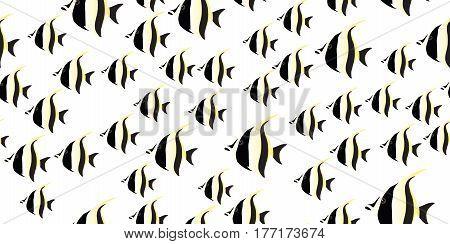 fish seamless on white background. vector illustration