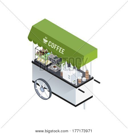 Mobile coffee kiosk composition with isometric image of coffee cart with coffee machine sandwiches and sweet donuts vector illustration