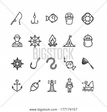 Fishing Sport and Leisure Icon Thin Line Set Equipment Hobby. Vector illustration