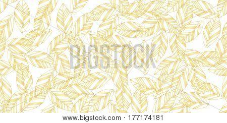 gold leaves seamless on white background. vector illustration