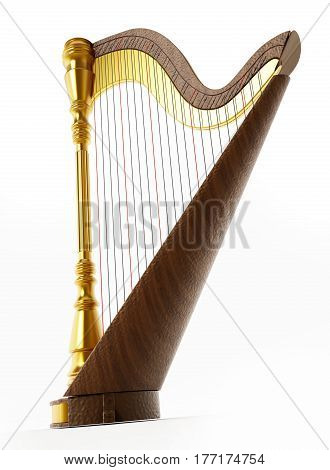 Harp isolated on white background. 3D illustration.