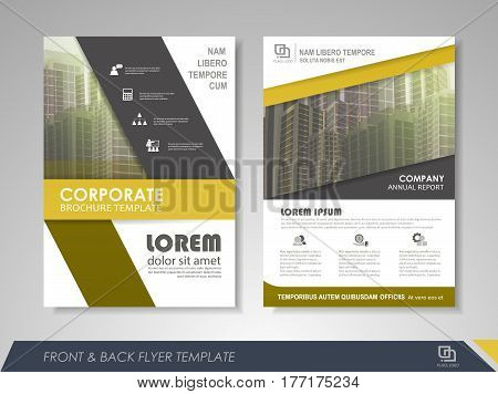 Yellow annual report brochure flyer design template. Leaflet cover presentation abstract background for business magazines posters booklets banners. Layout in A4 size. Easily editable vector format.