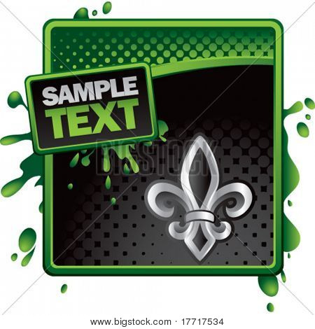 fleur de lis green and black halftone grungy template