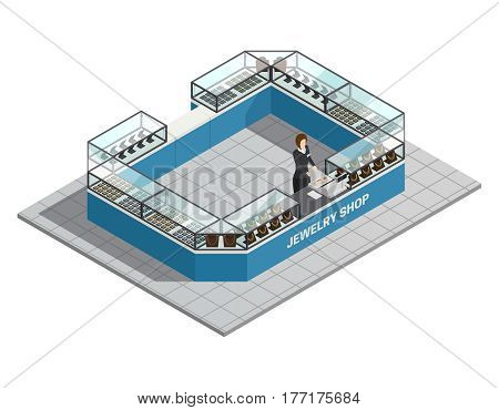Jewelry shop isometric interior with seller behind counter with precious goods for women vector illustration