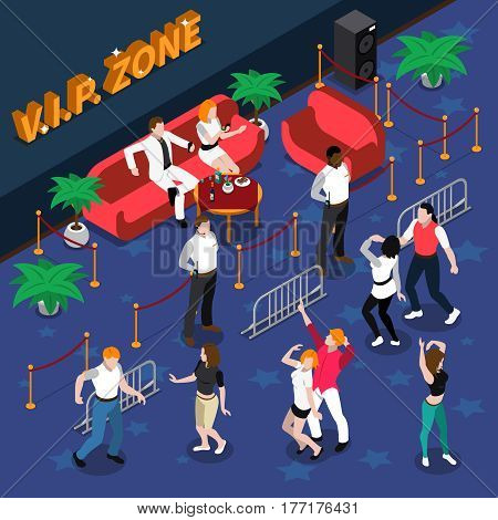 Celebrities on red sofa at vip zone with guards near dance floor in nightclub isometric vector illustration