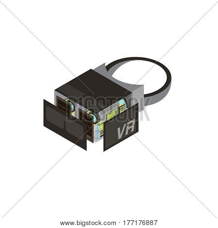 One isolated gadgets scheme isometric composition shows what s inside in processor vector illustration