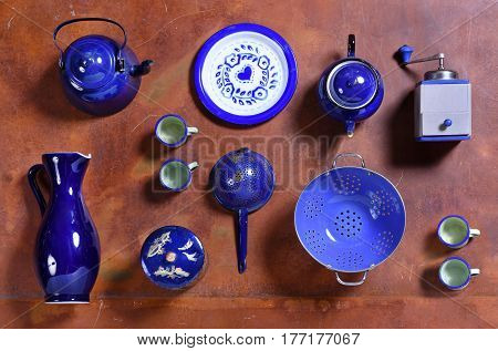 Assorted Collection Of Blue Kitchenware And Tools