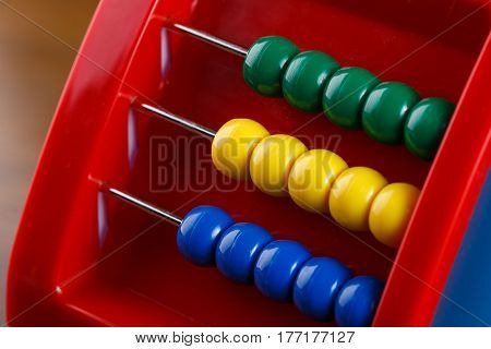 Detail of balls on Children abacus. Calculator.