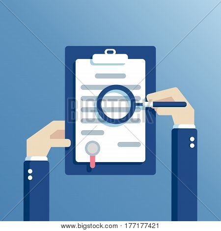 Hand checking contract with a magnifying glass. Hands holding clipboard with agreement and look at it through a magnifying glass. Contract inspection concept flat design vector illustration