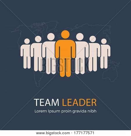 Team Leader and Group of People with World Map Illustration