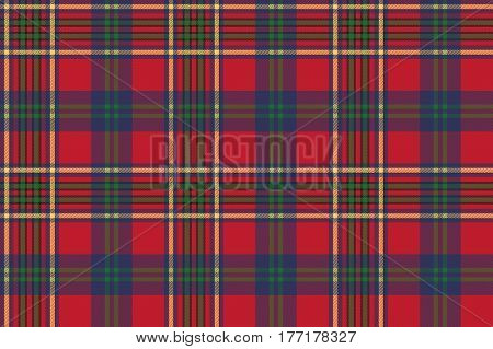 Green red classic tartan check seamless fabric texture. Vector illustration.