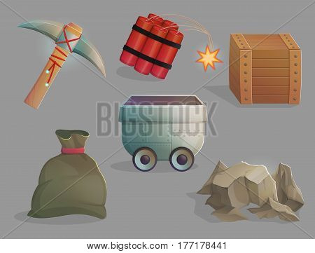 Exploration and mining of natural resources. Set of tools and devices, carte and sack, dinamite, trolley and pickaxe. Game and app ui icons.
