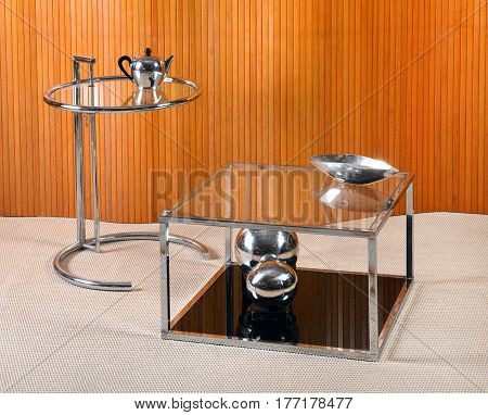 Vintage Glass And Chrome Tables With Deco Objects
