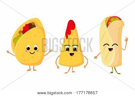 Cute funny corn taco, burrito and nachos with smile in face. fresh lunch mexican food vector set. Funny character mexican food, illustration of mexican cuisine
