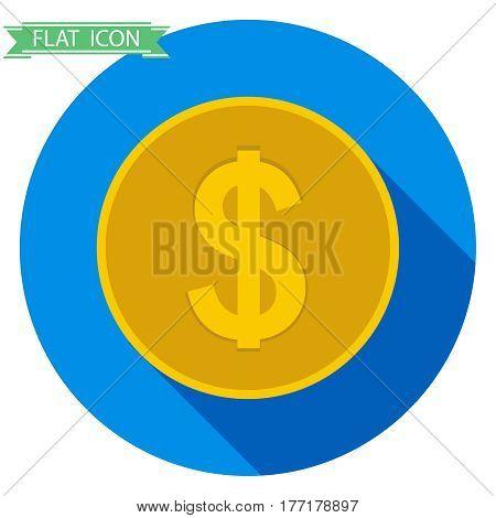 Gold coin. Flat design vector illustration vector.