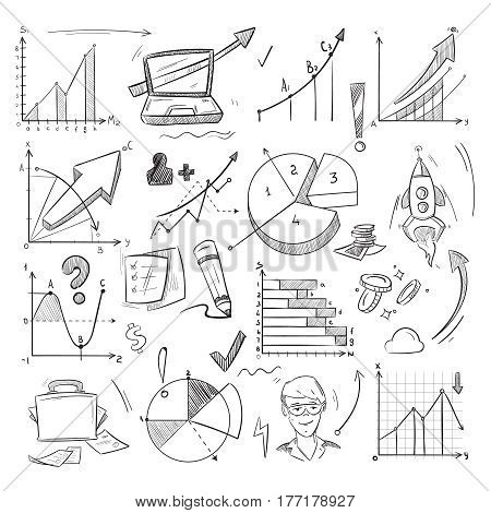 Business idea, creative startup, financial investment sketch, doodle, hand drawn infographic elements. Presentation sketch financial graph, illustration of financial startup idea