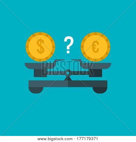 Currency comparison of dollar and euro with weighing scale, balance banking and finance vector business concept. Balance money dollar and euro, illustration of stability equality money