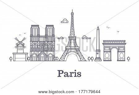 French architecture, paris panorama city skyline vector outline illustration. Paris linear architecture, famous paris place