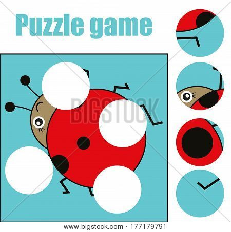 Matching children educational game. Match pieces and complete the picture with ladybug. Puzzle kids activity