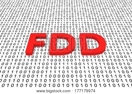 FDD in the form of binary code, 3D illustration