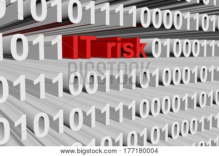 IT risk in the form of binary code, 3D illustration
