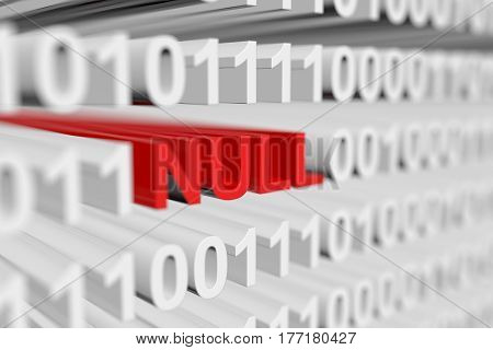 NULL in a binary code with blurred background 3D illustration