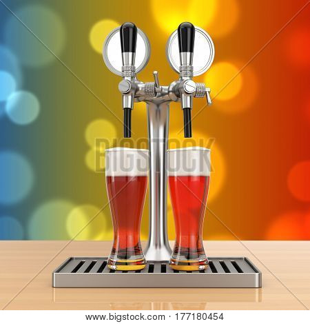 Bar Beer Tap with Beer Glasses on a wooden table. 3d Rendering.