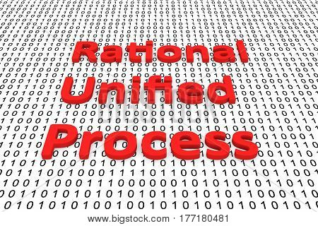 Rational Unified Process in the form of binary code, 3D illustration