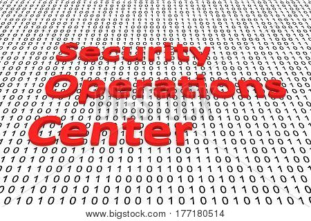 security operations center in the form of binary code, 3D illustration