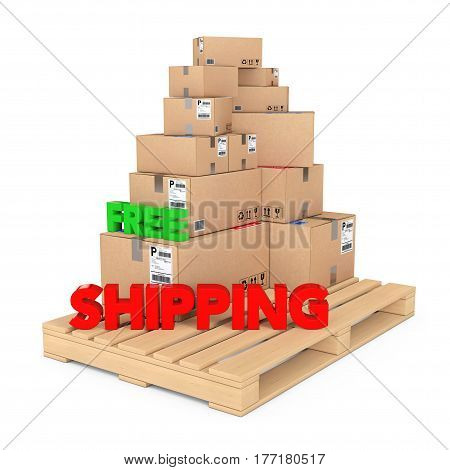 Free Shipping concept. Cardboard Boxes on Wooden Palette with Free Shipping Sign on a white background. 3d Rendering.