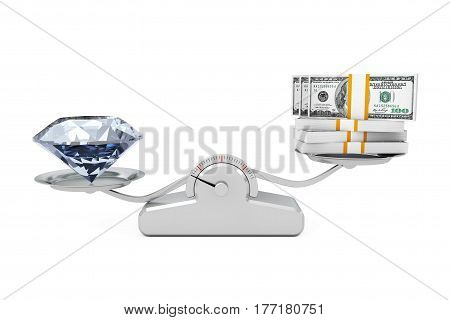 Giant Diamond with Money Balancing on a Simple Weighting Scale on a white background. 3d Rendering.