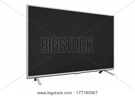 Modern Flat Led or Lcd TV on a white background. 3d Rendering.