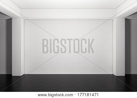 Industrial Interior Concept. Empty Underground Parking Garage extreme closeup. 3d Rendering.