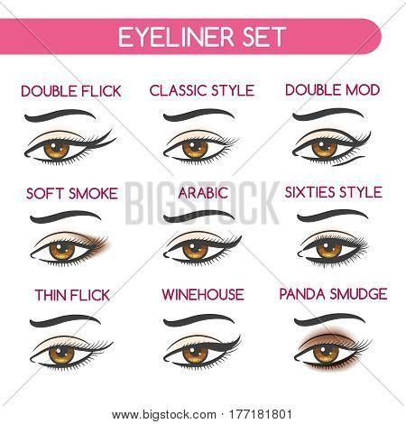 Eyeliner set vector illustration. Woman eyes makeup, shape of female eyebrows, eyelashes and smokey eye shadows