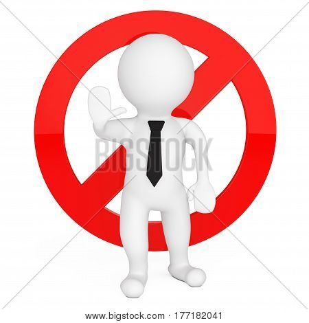 3d Person with Red Stop Warning Sign on a white background. 3d Rendering.