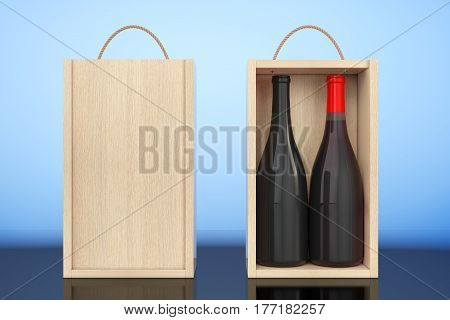 Wine Bottles in Blank Wooden Wine pack with Handle on a white background. 3d Rendering.