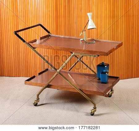 Vintage Service Cart With Lamp And Blue Cannisters