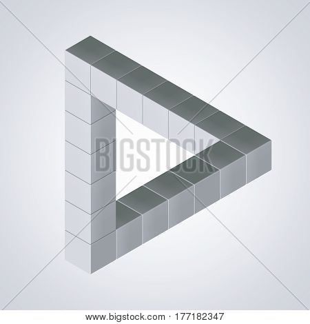 Impossible Looped Triangle Illusion Made with Cubes on a white background. 3d Rendering.